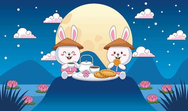 Mid autumn celebration card with little rabbits couple dinning in the lake
