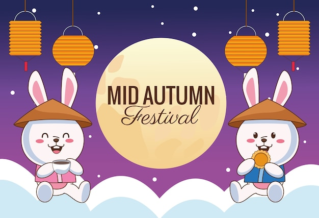Mid autumn celebration card with little rabbits couple with lanterns in clouds vector illustration design