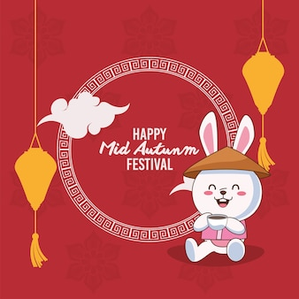 Mid autumn celebration card with rabbits couple in boat