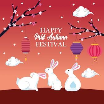Mid autumn chinese festival cartoon