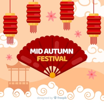 Mid autumn festival background concept in flat design