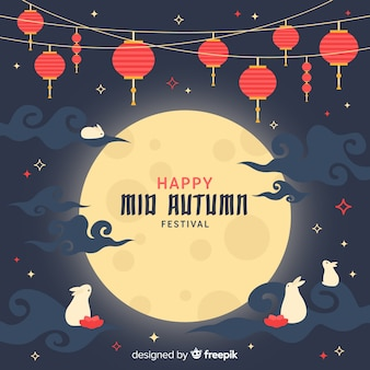 Mid autumn festival background concept