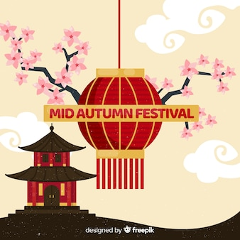Mid autumn festival background design in flat design