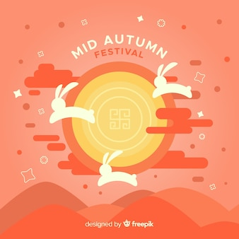 Mid autumn festival background in flat style