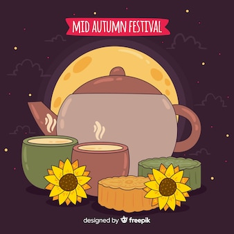 Mid autumn festival background in hand drawn design with tea pot