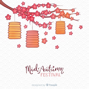 Mid autumn festival background in hand drawn design