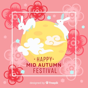 Mid autumn festival background with cute rabbit