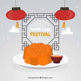 Mid autumn festival background with moon cake