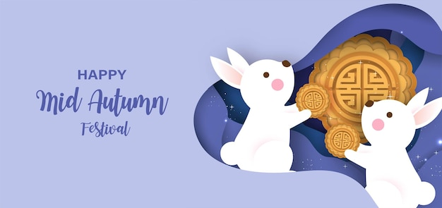 Баннер фестиваля середины осени с милыми кроликами и луной в стиле вырезки из бумаги.