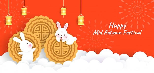 Mid autumn festival banner with cute rabbits  moon cake in paper cut style.