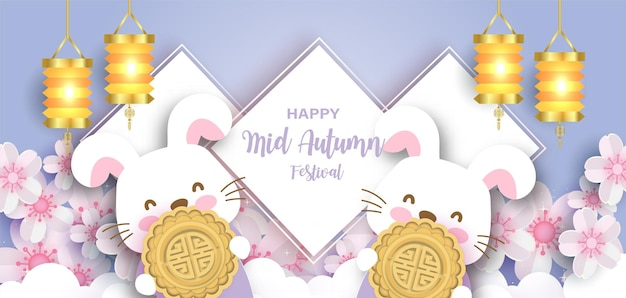 Mid autumn festival banner with cute rabbits and a mooncake  in paper cut style