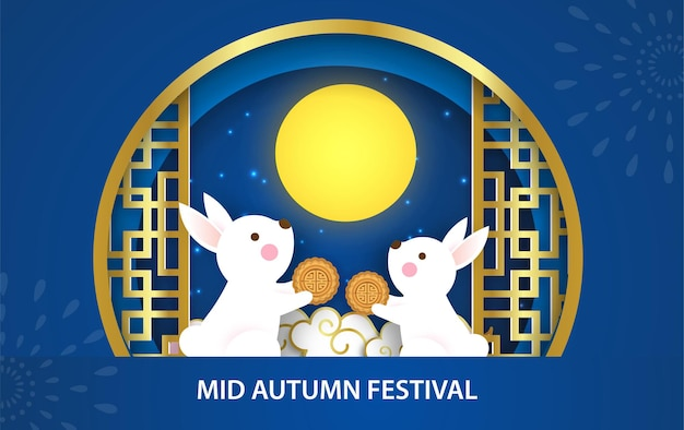 Mid autumn festival banner with cute rabbits in paper cut style