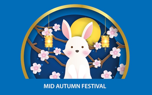 Mid autumn festival banner with cute rabbits in paper cut style.