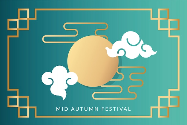 Mid autumn festival card with moon and clouds