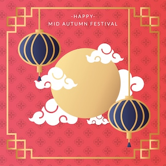 Mid autumn festival card with moon and lanterns