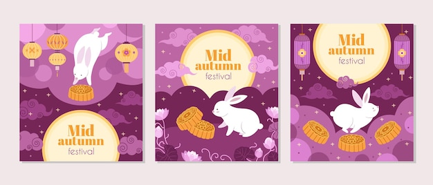 Mid autumn festival cards. fest symbols, cartoon bunny lantern and cake invitation. asian chinese, korean festive full moon vector poster. mid autumn festival, chinese and korean lantern illustration