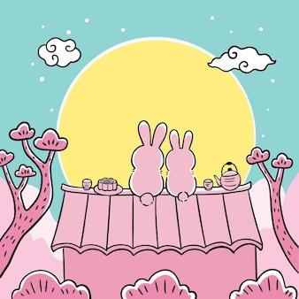 중추절 만화 귀여운 손으로 그리는 흰 토끼와 달 벡터
