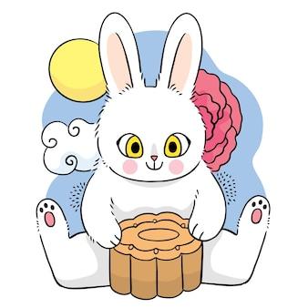 Mid autumn festival cartoon cute hand draw white rabbit and moon cake vector