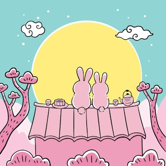 Mid autumn festival cartoon cute hand draw white rabbit and moon vector