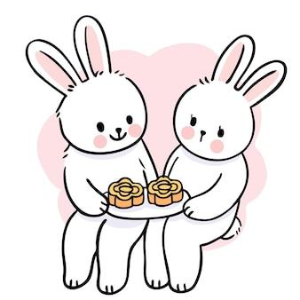 Mid autumn festival cartoon cute hand draw white rabbits and moon cake vector