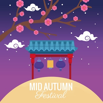 花の木と提灯がアーチにぶら下がっている中秋節のお祝い