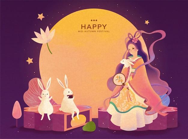 Праздник середины осени смена и нефритовый кролик наслаждаются просмотром полнолуния и сидят на лунном пироге