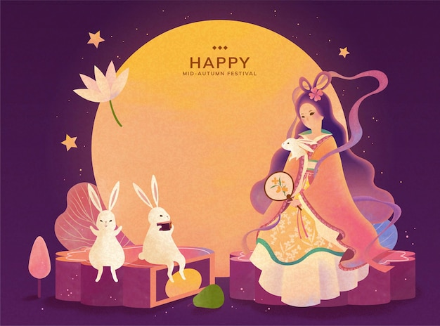 Mid autumn festival change and jade rabbit enjoy the full moon watching and sit on mooncake