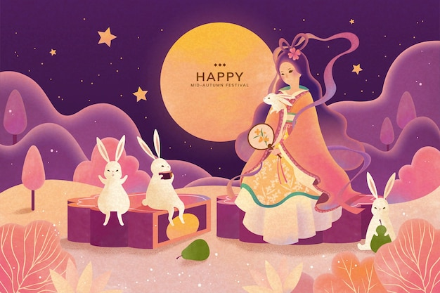 Mid autumn festival change and jade rabbit enjoy moon watching and sit on mooncake