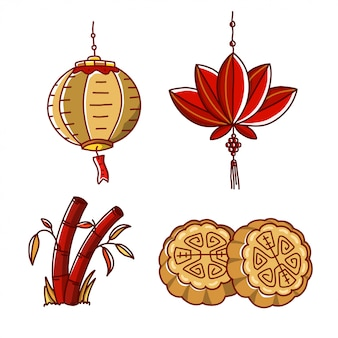Mid autumn festival china illustration set