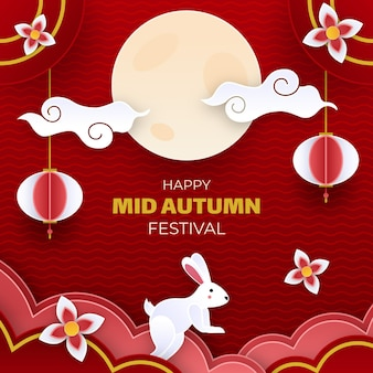 Mid autumn festival concept in paper style