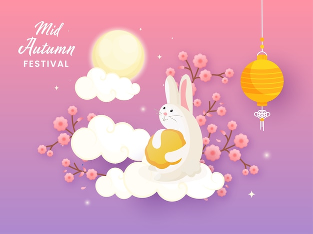 Mid autumn festival concept with cartoon bunny holding mooncake, sakura flower branch, clouds and chinese lantern hang on full moon gradient purple and pink background.