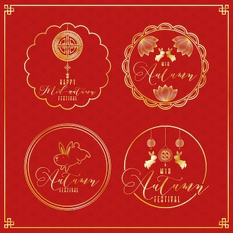 Mid autumn festival greeting card with golden set in red background vector illustration design