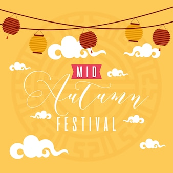 Mid autumn festival greeting card with lettering and lamps hanging vector illustration design