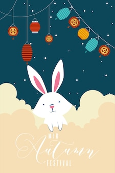 Mid autumn festival greeting card with rabbit and lamps hanging vector illustration design