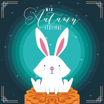 Mid autumn festival greeting card with rabbit and lettering vector illustration design