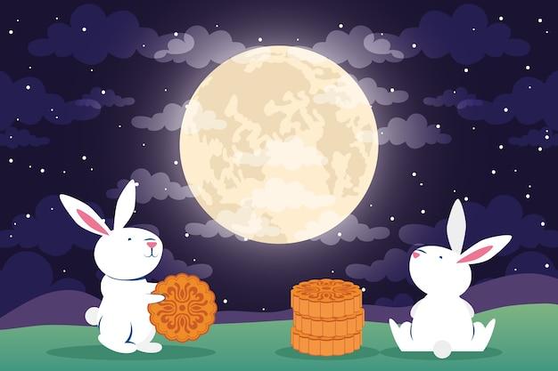 토끼와 보름달 장면 벡터 일러스트 디자인 중순 가을 축제 인사말 카드