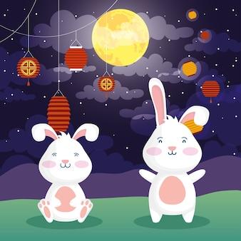 Поздравительная открытка фестиваля середины осени с кроликами и лампами, векторная иллюстрация дизайн