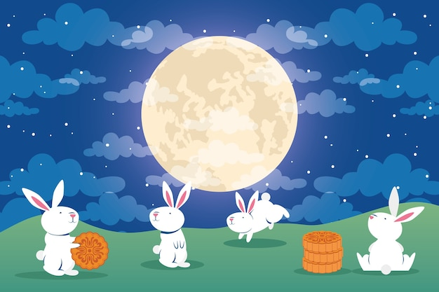 Mid autumn festival greeting card with rabbits and full moon in the camp vector illustration design