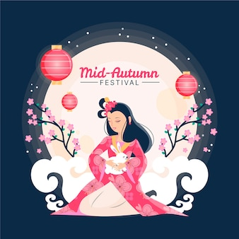 Mid-autumn festival hand drawn style