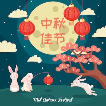 Иллюстрация фестиваля середины осени. милый кролик держит фонарь на полнолуние. китайский праздник. плоский векторный стиль.