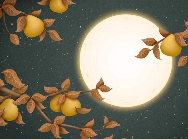 Иллюстрация фестиваля середины осени с привлечением полной луны и деревьев помело