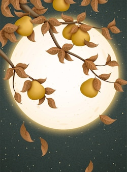 Mid autumn festival illustration with attracting full moon and pomelo trees