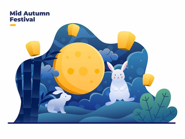Mid autumn festival illustration with beautiful landscape and full moon at night time