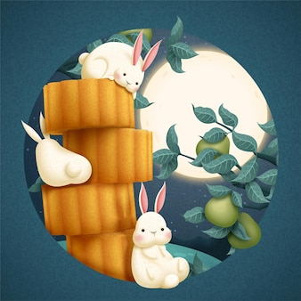 Mid autumn festival illustration with lovely rabbit and mooncakes on full moon background