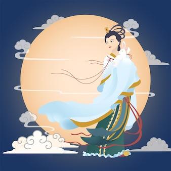 큰 달 배경으로 토끼를 안고 있는 중추절 달의 여신