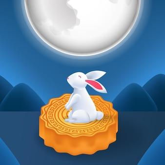 中秋節の夜は月餅と月餅で風景うさぎを争う