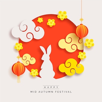 Mid-autumn festival in paper style concept