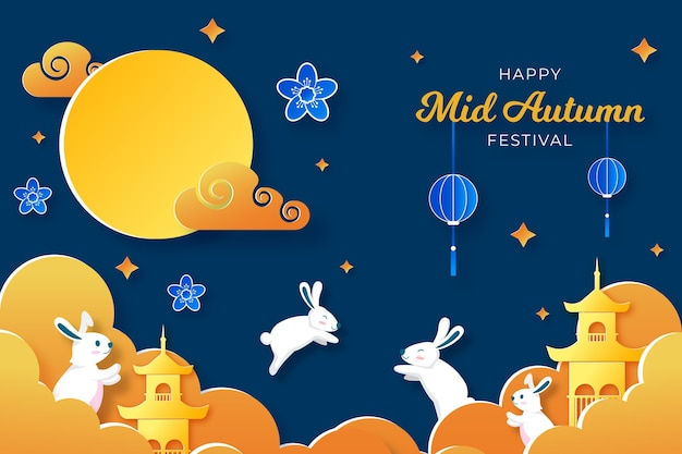 Mid-autumn festival in paper style with bunnies