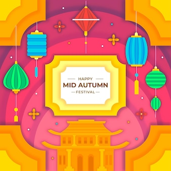 Mid autumn festival in paper style