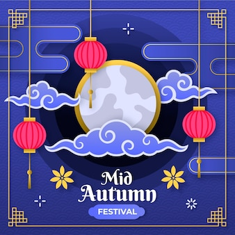 Mid-autumn festival in paper style